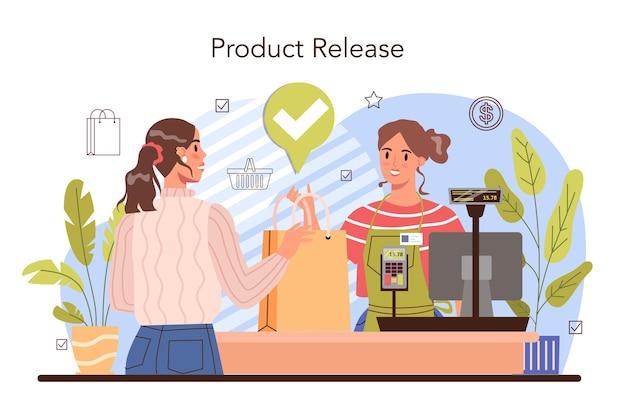 As atividades comerciais processam o sistema de pagamento moderado pagamento em dinheiro