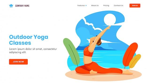 As aulas de ioga ao ar livre basearam a página de aterrissagem com a garota fazendo ioga em pose de aswaasanchal asana na vista da praia.