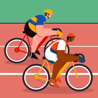 As bicicletas são corridas embaladas em todos os níveis de esporte. que é muito popular