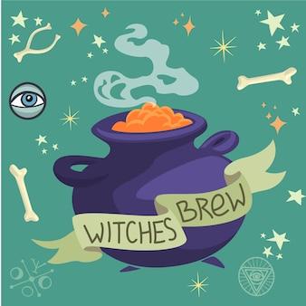 As bruxas de halloween brew em um caldeirão.