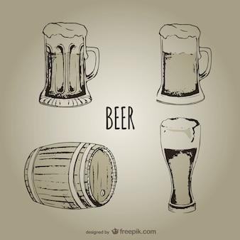 As canecas de cerveja e copos
