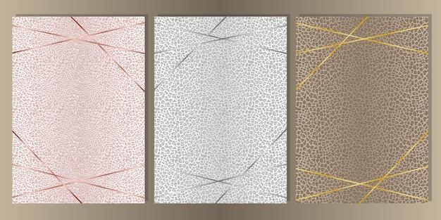 As capas de pele de leopardo definem fundos a4 para modelos, banners, cartões, convite