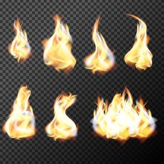 As chamas de fogo realistas definem o vetor em um fundo transparente. ilustração do vetor.