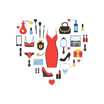 As coisas da mulher em forma de coração