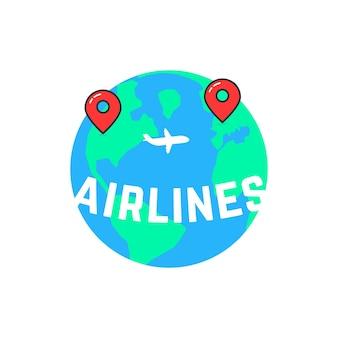 As companhias aéreas gostam de construir uma rota. conceito de marca de navio, viagem, direção, oceano, avião comercial, jato, passagem, marcador. ilustração em vetor design de logotipo moderno tendência estilo plano no fundo branco