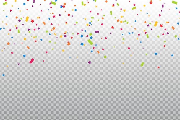 As cores coloridas dos confetes que caíram no chão na celebração.