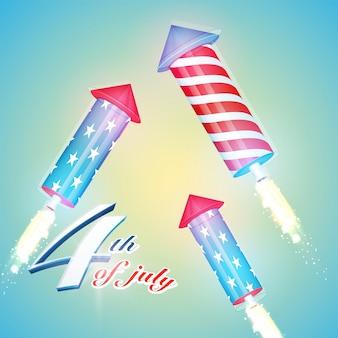 As cores da bandeira americana explodiram rockets no fundo brilhante para 4 de julho, festa do dia da independência.