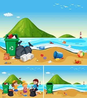 As crianças ajudam a limpar a praia suja