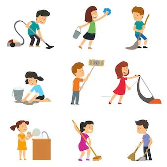 As crianças ajudam os pais nas tarefas domésticas. ilustração vetorial