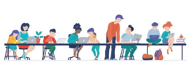 As crianças aprendem codificação em sala de aula