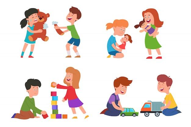 As crianças brincam com brinquedos.