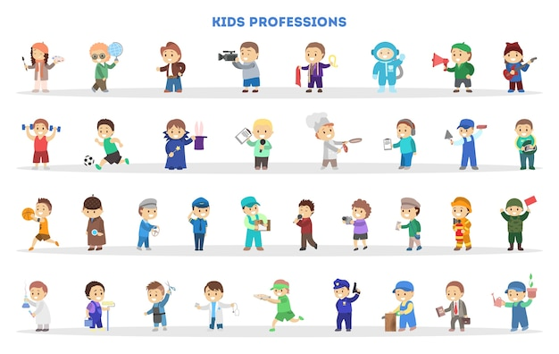 As crianças brincam como um conjunto de trabalhadores diferente. coleção de crianças