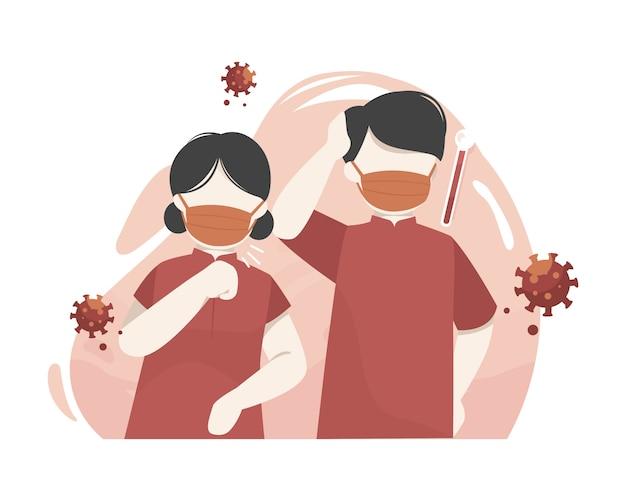 As crianças chinesas bonitos vestem a máscara para impedir a transmissão do coronavírus