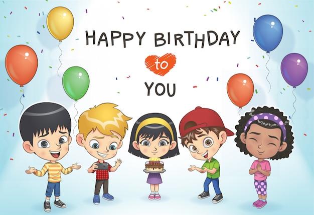 As crianças comemoram o aniversário