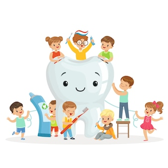 As crianças cuidam e limpam um dente grande e sorridente. personagens de desenhos animados coloridos