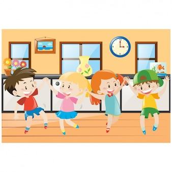 As crianças dançam fundo