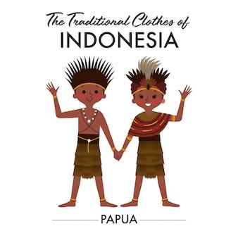 As crianças de papua, na indonésia, vestindo trajes tradicionais, estão de mãos dadas e acenando com as outras mãos