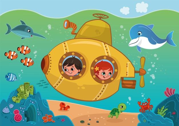 As crianças dentro do submarino amarelo estão viajando no fundo do mar. ilustração vetorial
