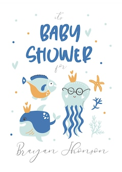 As crianças do chuveiro de bebê convidam. cartão modelo.
