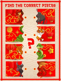 As crianças encontram um jogo de peças correto com os animais do ano novo chinês