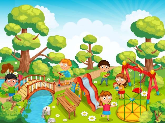 As crianças estão brincando com brinquedos no parquinho no parque.