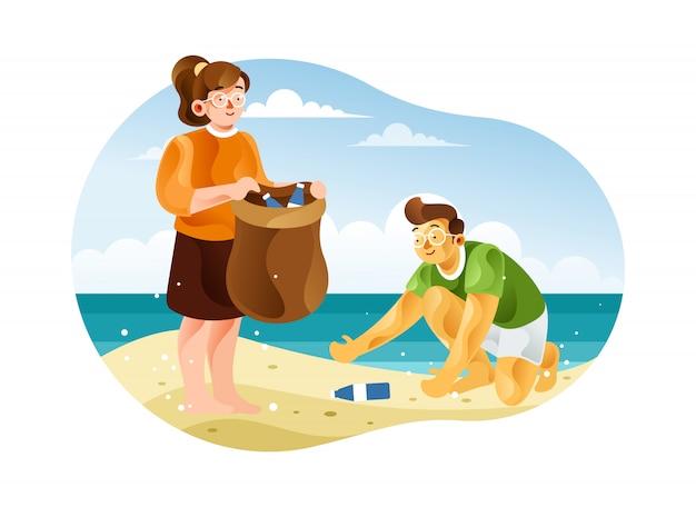 As crianças estão limpando a praia do lixo plástico