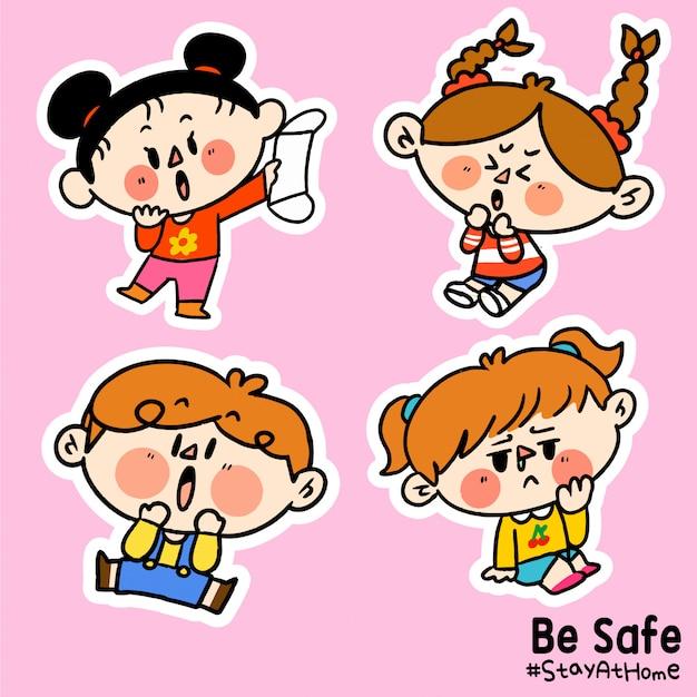 As crianças estejam seguras fique em casa corona covid-19 campanha adesivo ilustração a Vetor Premium