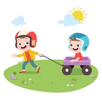 As crianças jogam a ilustração do vetor do carrinho da tração isolada