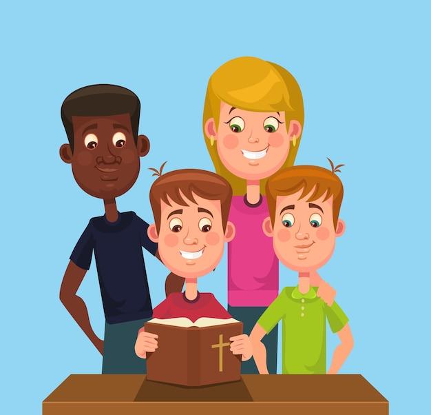 As crianças lêem a bíblia.