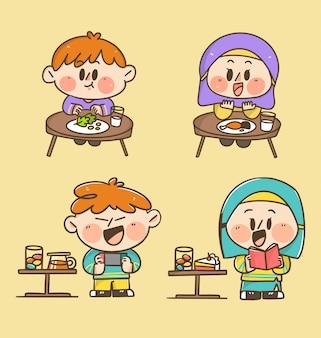 As crianças menino e menina comem e brincam em casa doodle adesivo ilustração