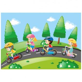 As crianças montam um projeto da bicicleta