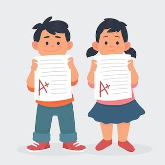 As crianças mostram o resultado do teste de papel