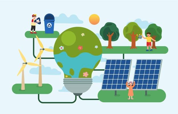 As crianças plantando árvores e usando energia renovável da natureza com energia solar de painel solar e turbina eólica