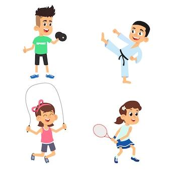 As crianças praticam esportes. ilustração em fundo branco.