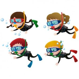As crianças que praticam mergulho