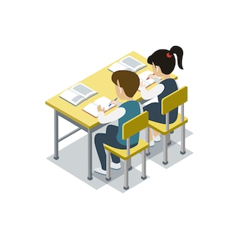 As crianças sentam-se na ilustração isométrica de mesa