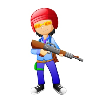 As crianças usam desenhos animados de armas
