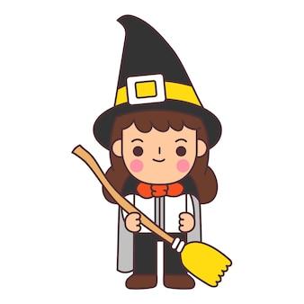 As crianças usam fantasias de halloween.