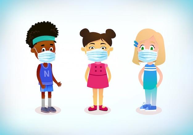 As crianças usam máscara médica. proteção contra vírus e poluição. conceito de proteção de coronavírus. conceito de medicina de saúde. máscara de poluição do rosto. medicina doença doença.