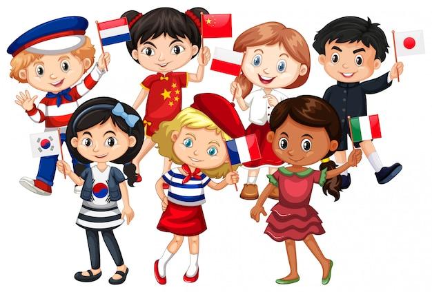 As crianças vêm de diferentes países