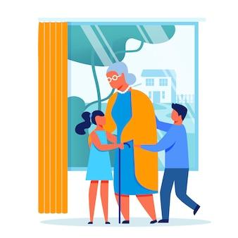 As crianças visitam a ilustração vetorial de avó