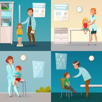 As crianças visitam composições dos desenhos animados dos doutores