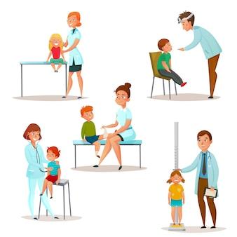 As crianças visitam um conjunto de ícones de médico