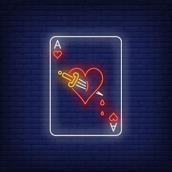 Ás, de, corações, com, punhal, cartão jogando, sinal néon