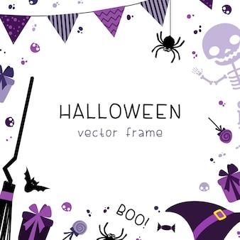 As decorações da festa de halloween esquadram o quadro com decorativo com guirlandas, bandeiras, presentes, chapéu, vassoura, esqueleto e doces em fundo branco.