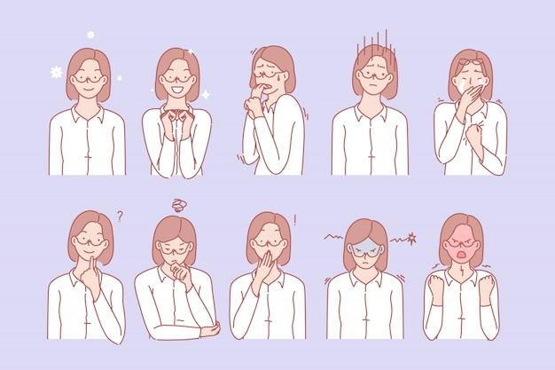 As emoções e expressões faciais da mulher