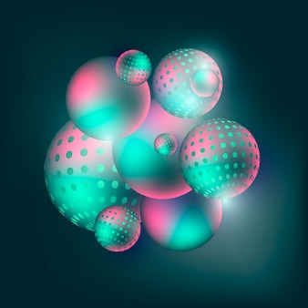 As esferas coloridos de fluxo abstraem a composição 3d em um fundo escuro.