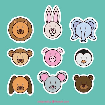 As etiquetas animais emoticon em design plano