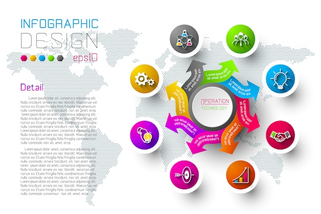 As etiquetas coloridas do negócio dão forma à barra infographic dos círculos.