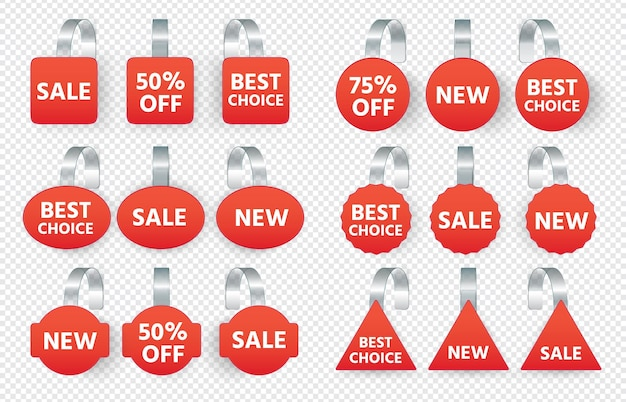 As etiquetas de vendas vermelhas oscilam com o texto